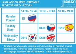 Schedule of lessons